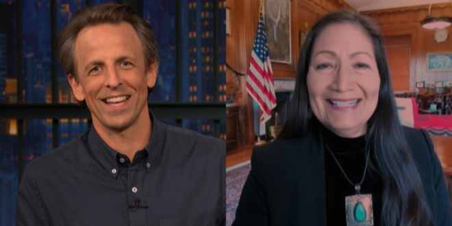 haaland-staffer-caught-crawling-in-background-of-her-seth-meyers-interview:-'we-know-you're-behind-the-desk'